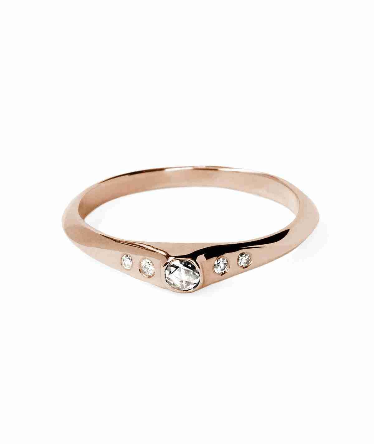 alternative rose cut diamond engagement ring