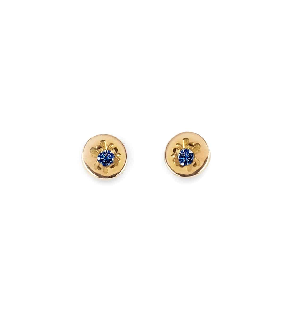 delicate gold sapphire stud earrings