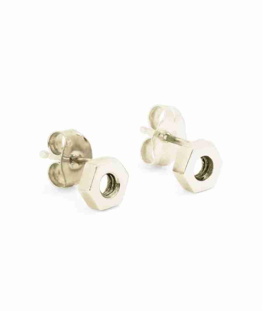 white gold hex stud earrings