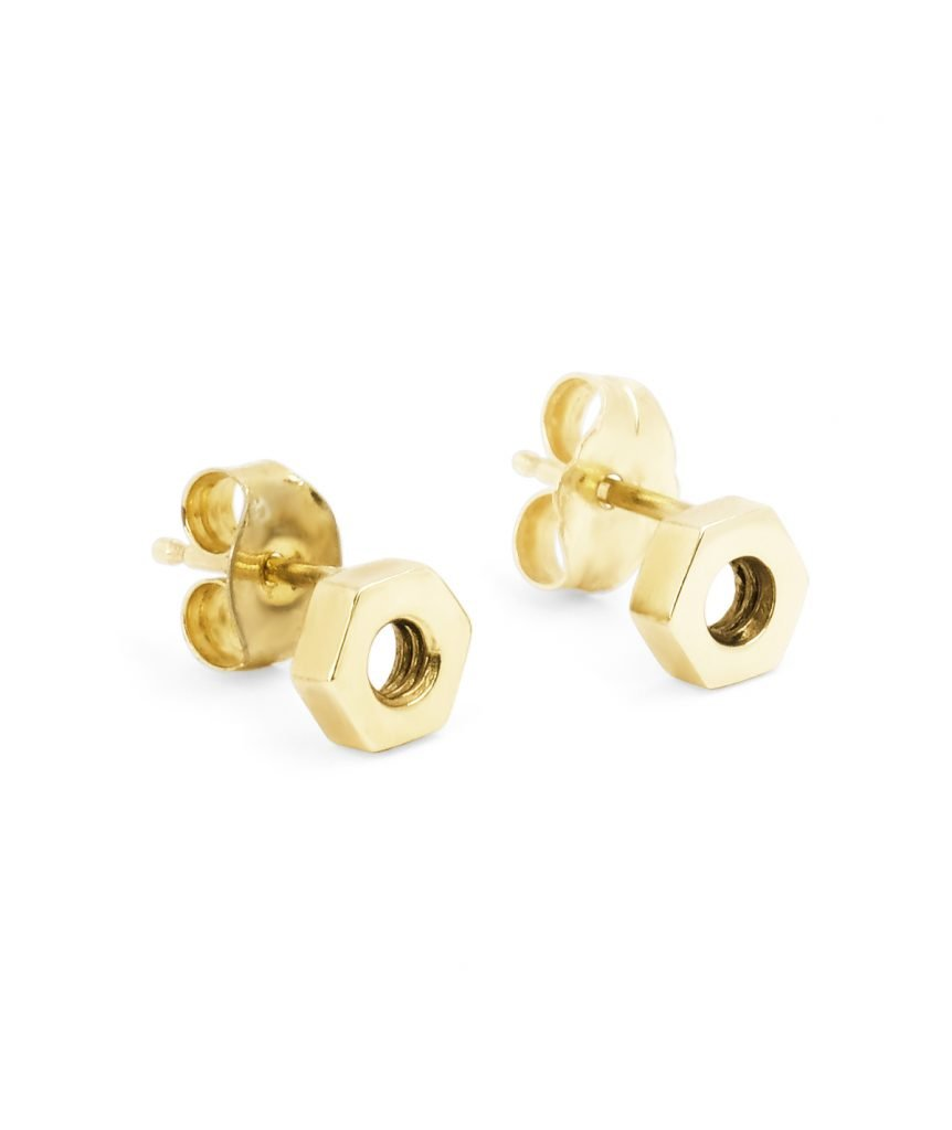 yellow gold hex stud earrings
