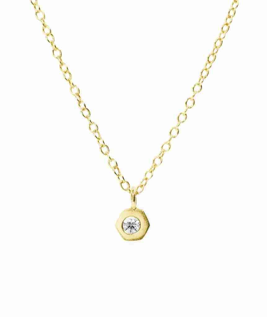 bezel set birthstone necklace