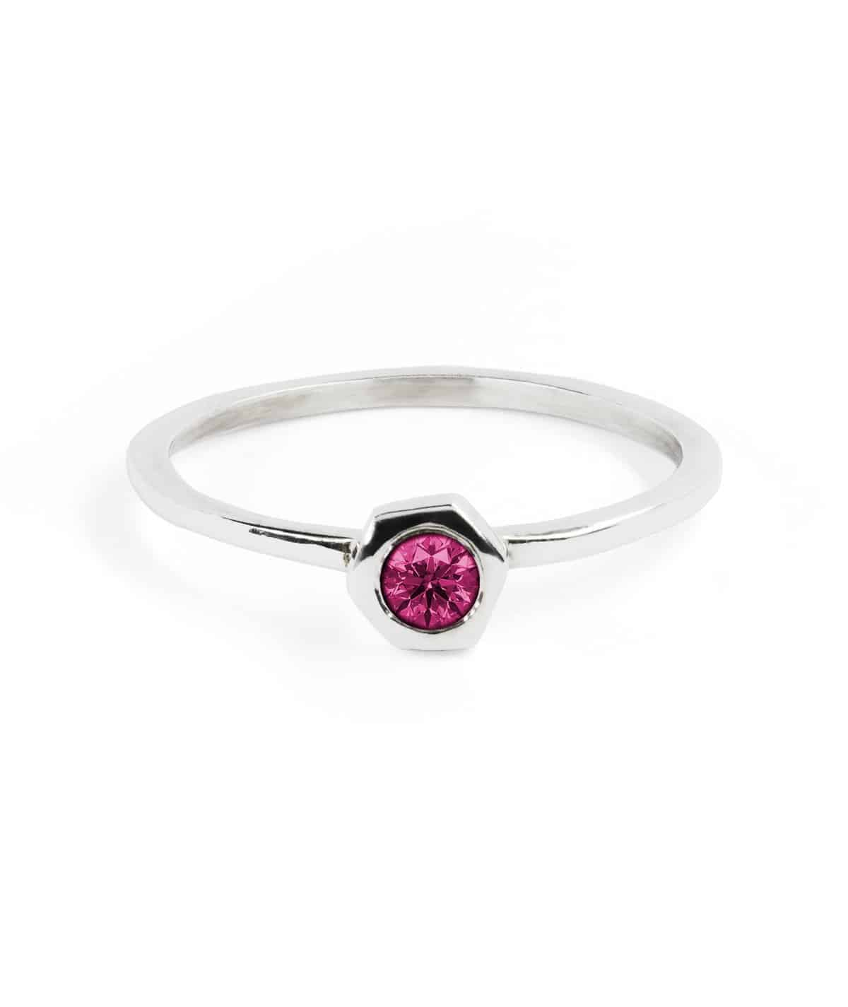 fcff5c37378b3 Hex Red Ring in Sterling Silver with Red Garnet Stone