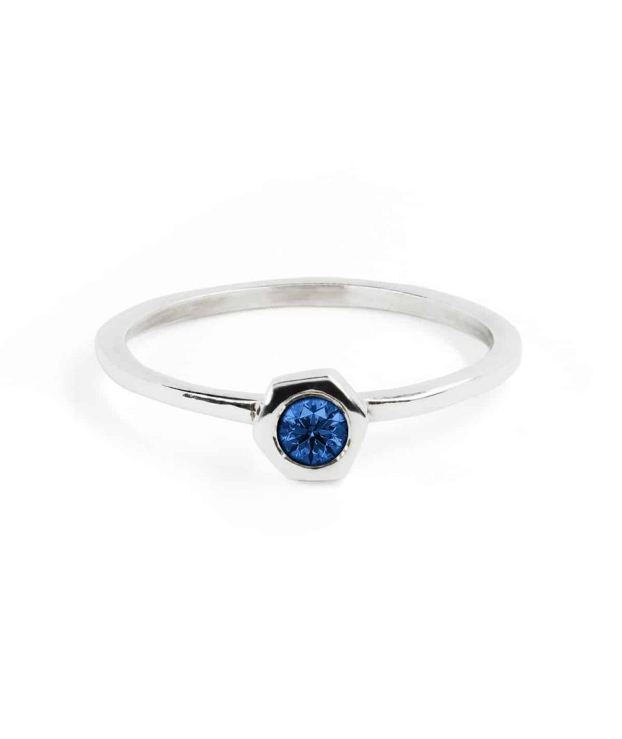 stacking silver ring with birthstone