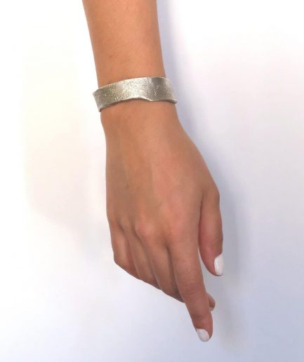 silver organic shape cuff bracelet