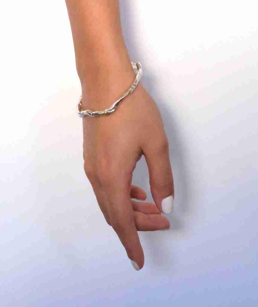 Solid silver bangle bracelet
