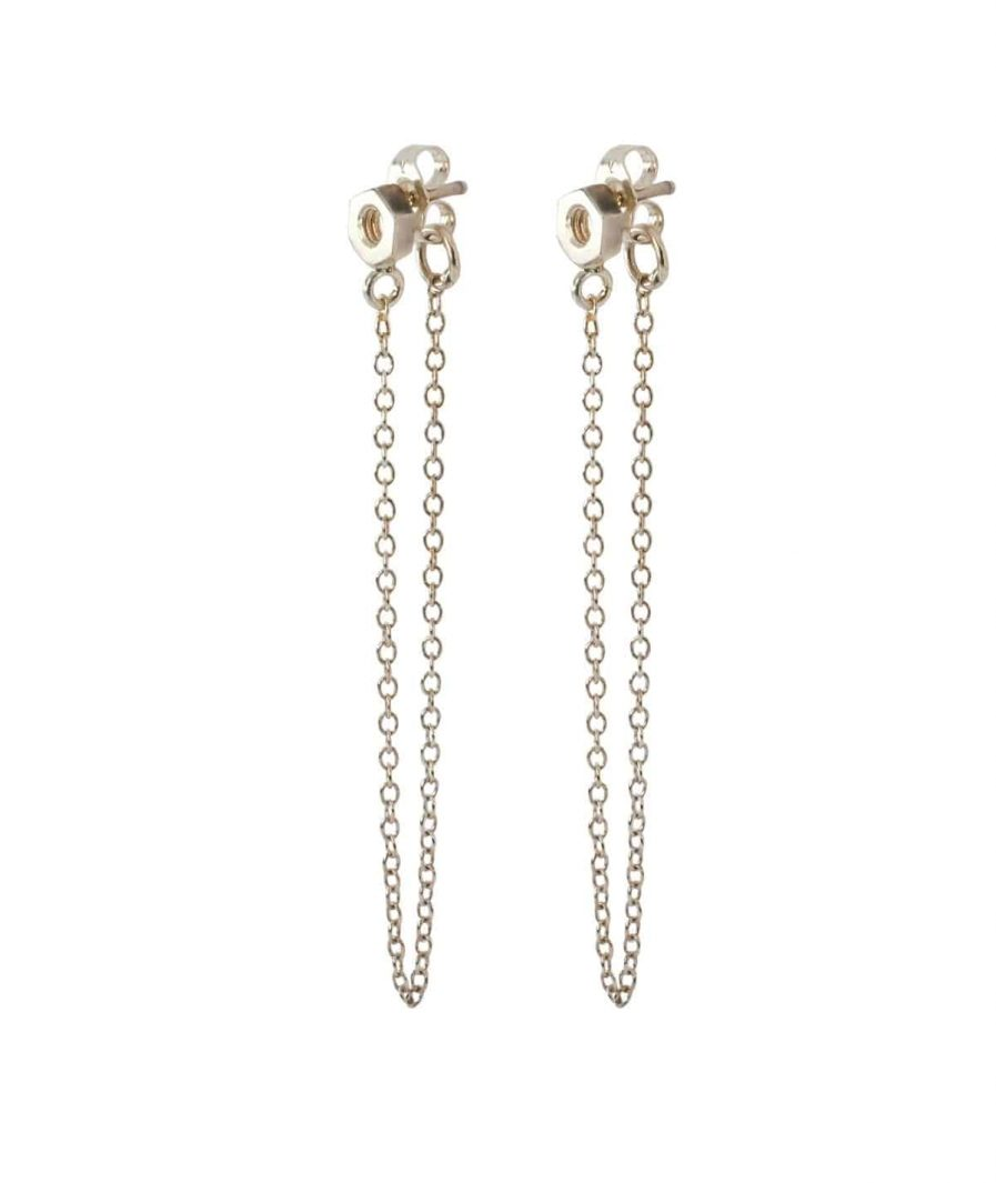 white gold front to back chain earrings