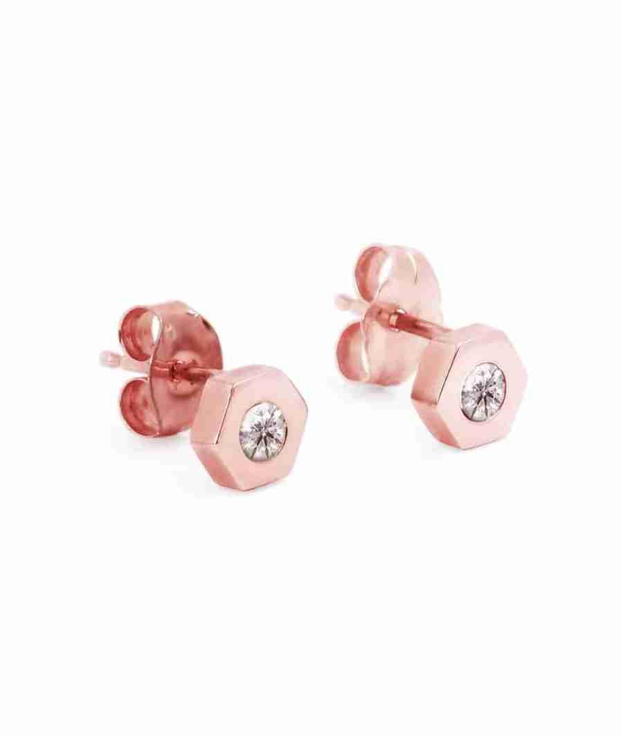 rose gold hexagon diamond stud earrings