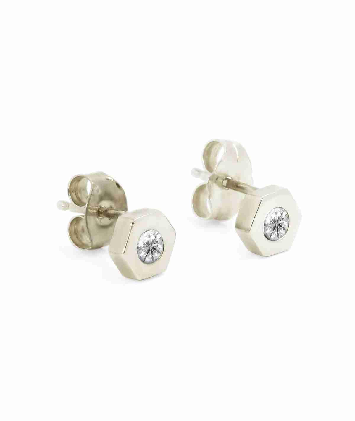white gold hexagon diamond stud earrings