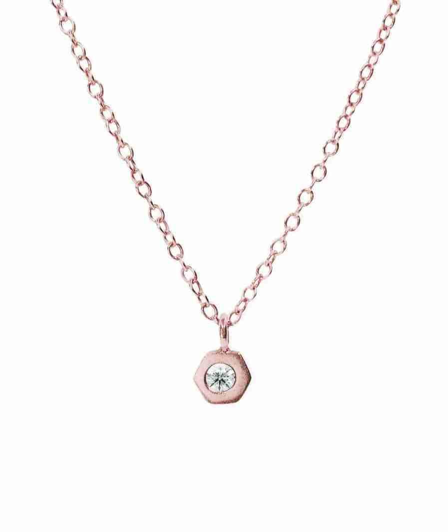 rose gold bezel set diamond necklace