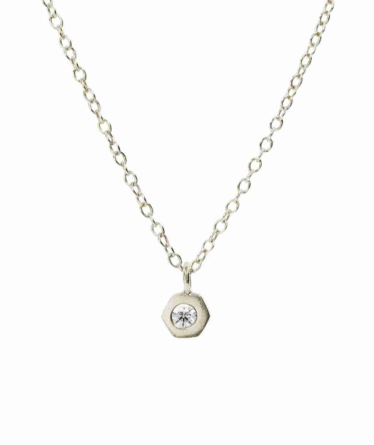 white gold bezel set diamond necklace