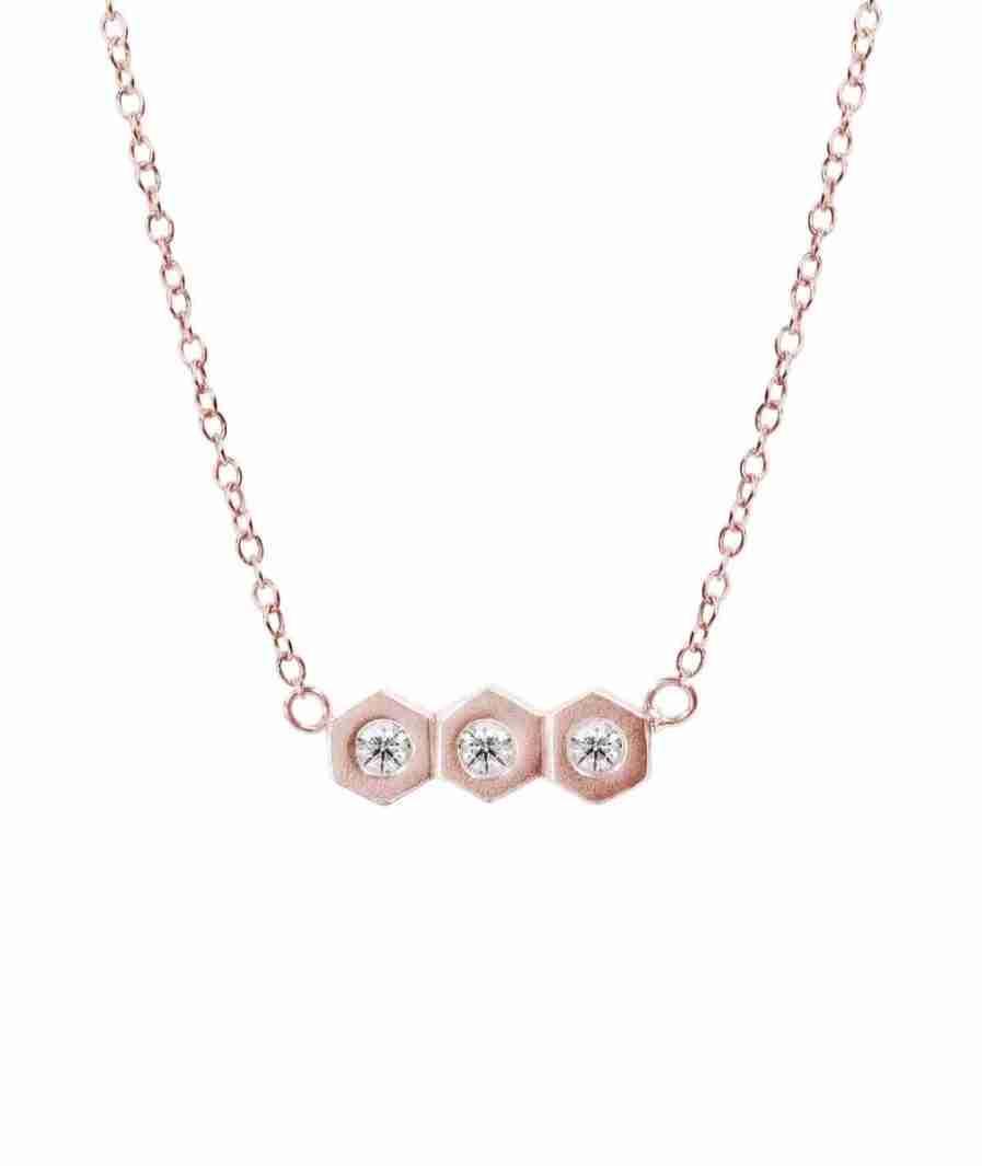 Rose gold trio diamond necklace