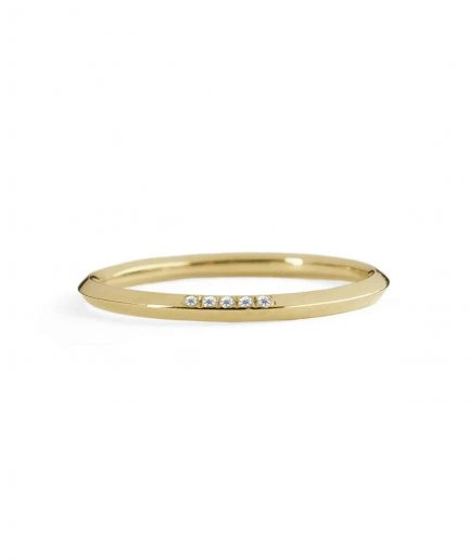 yellow gold 5 pointes wedding band