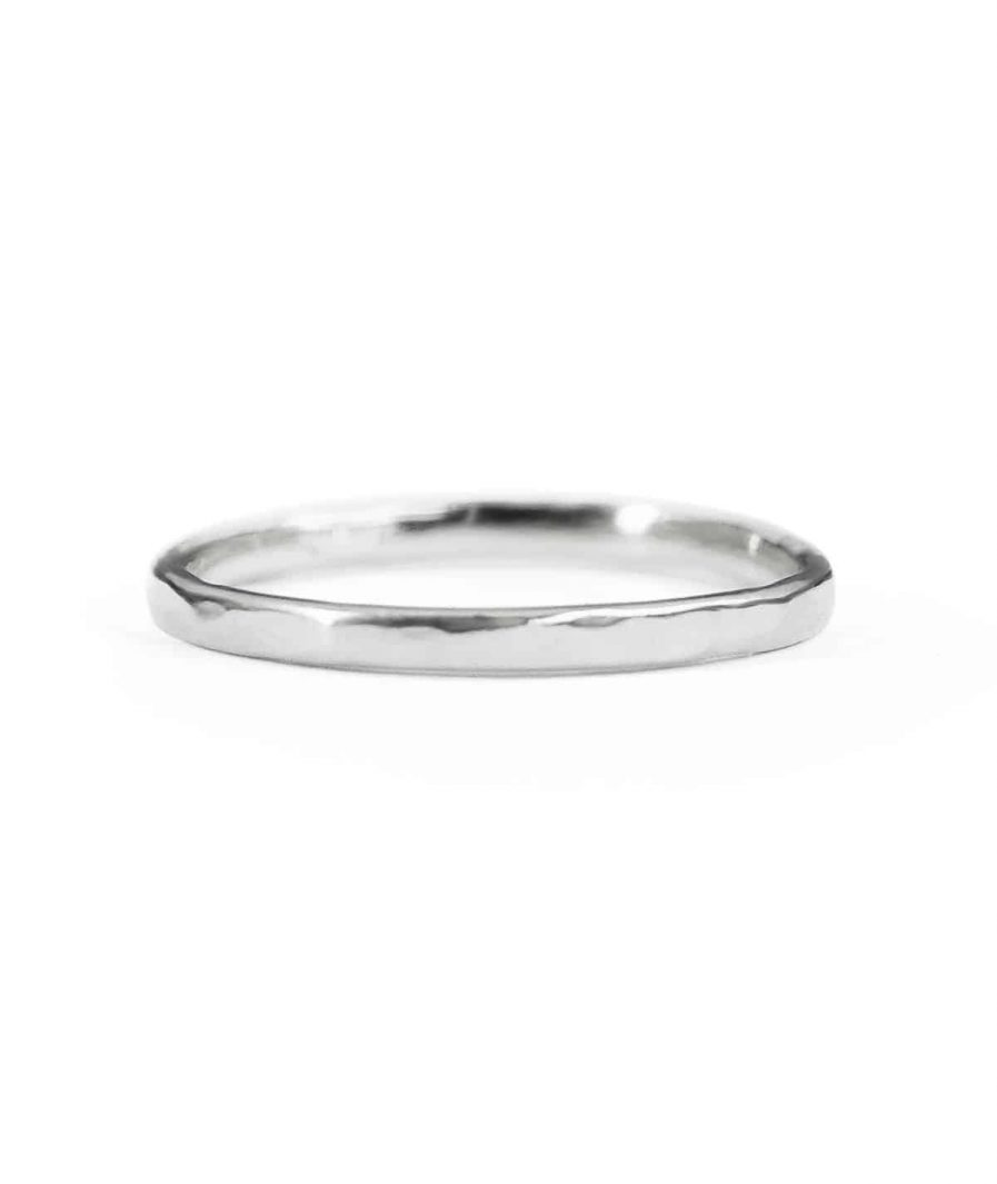 silver thin hammered wedding band