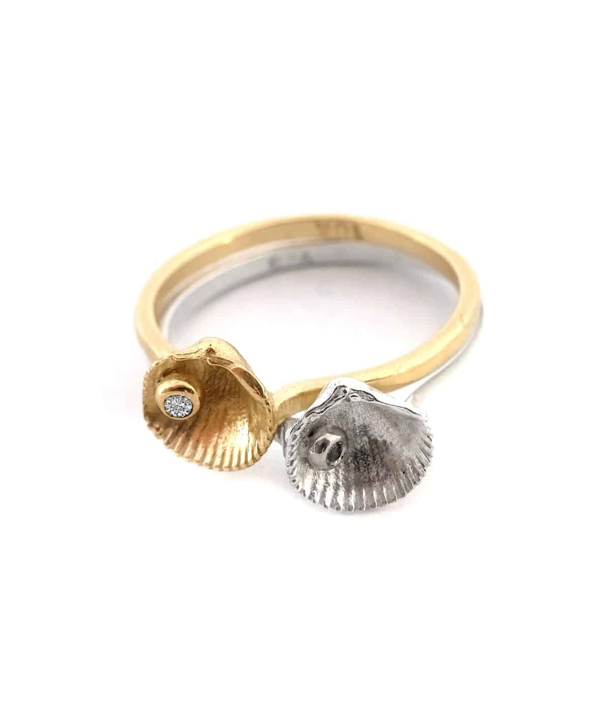 seashell gold diamond rings