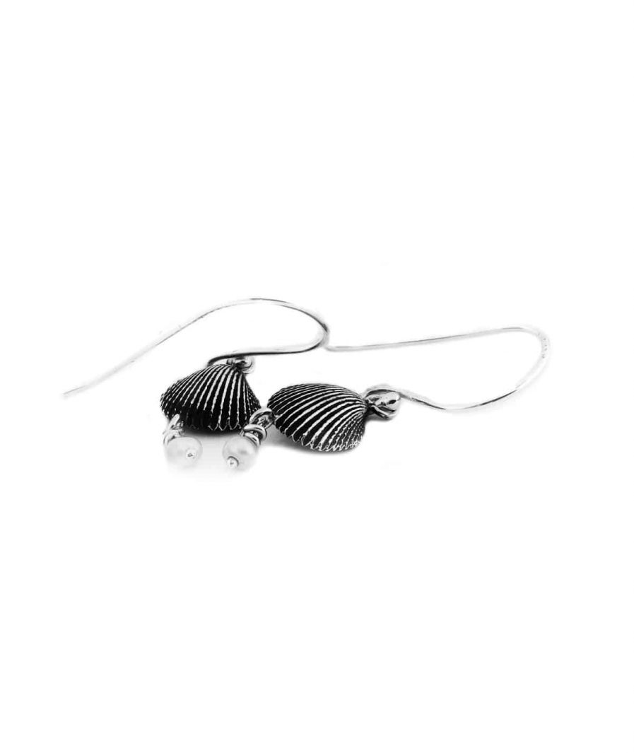 silver seashell pearl drop earrings