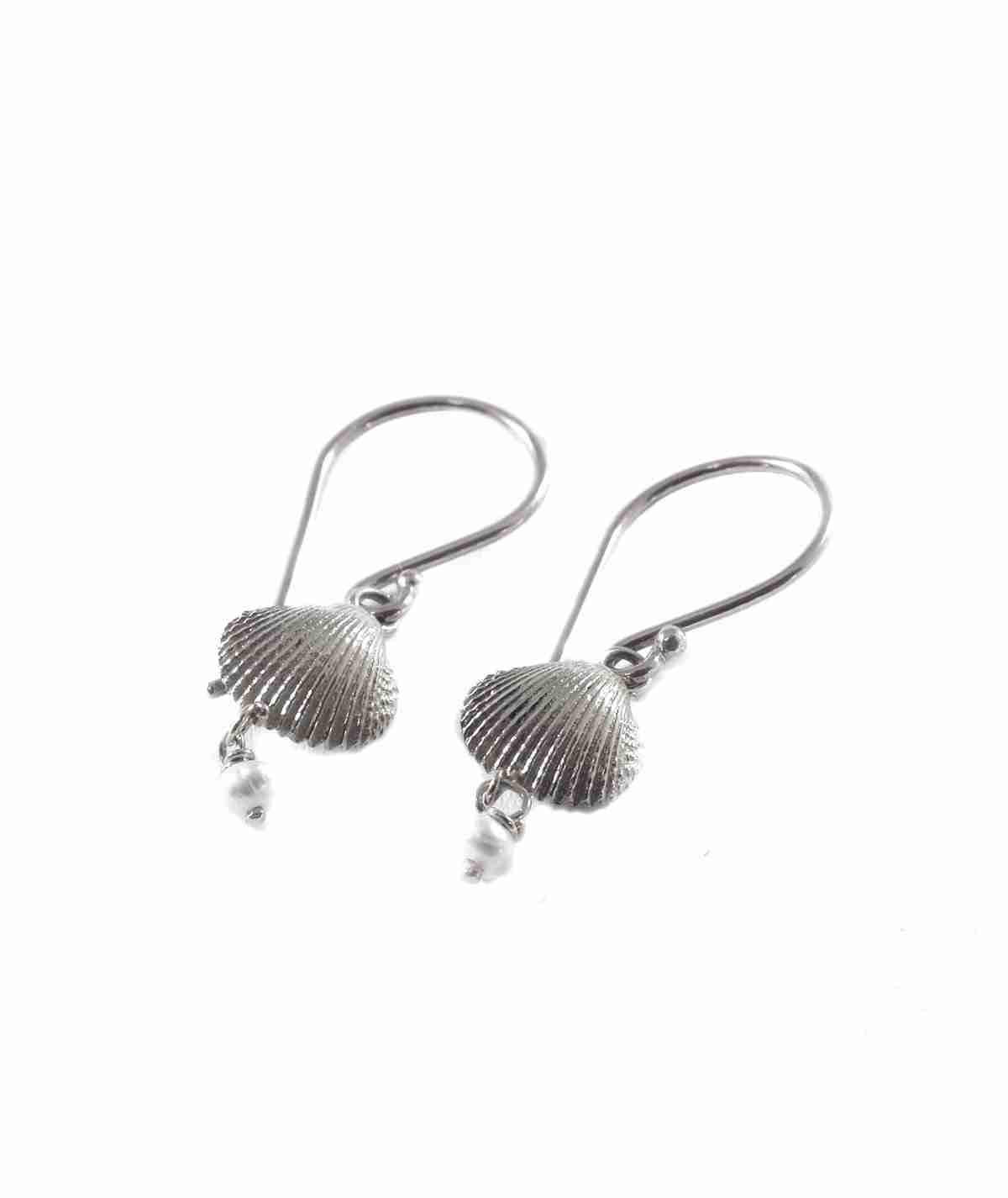 silver drop seashell and pearl earrings