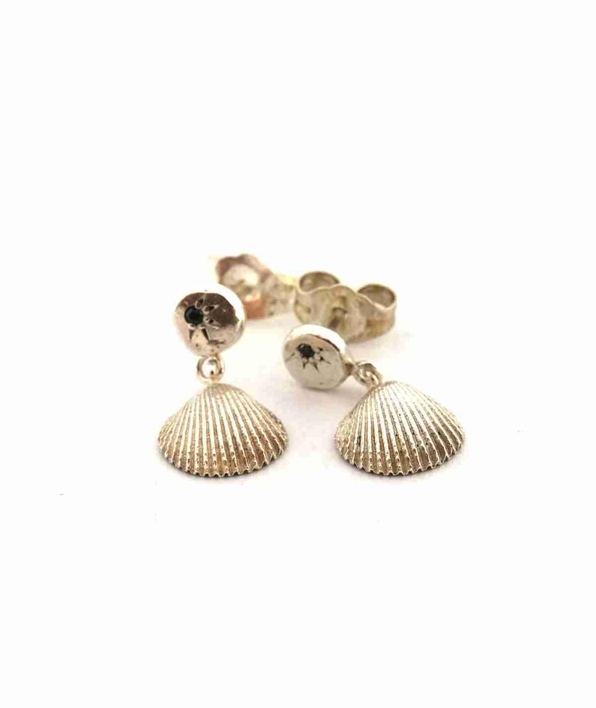 silver seashell stud earrings