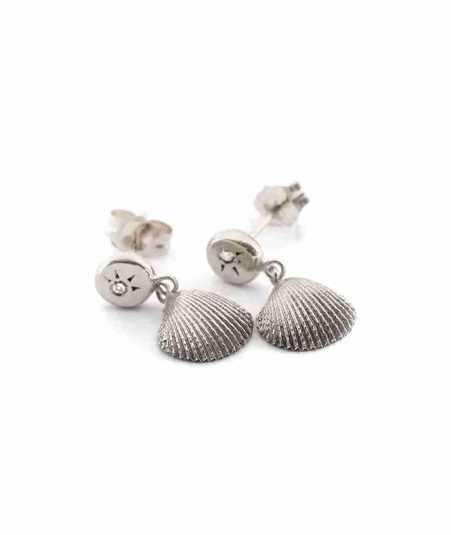 silver seashell drop earings