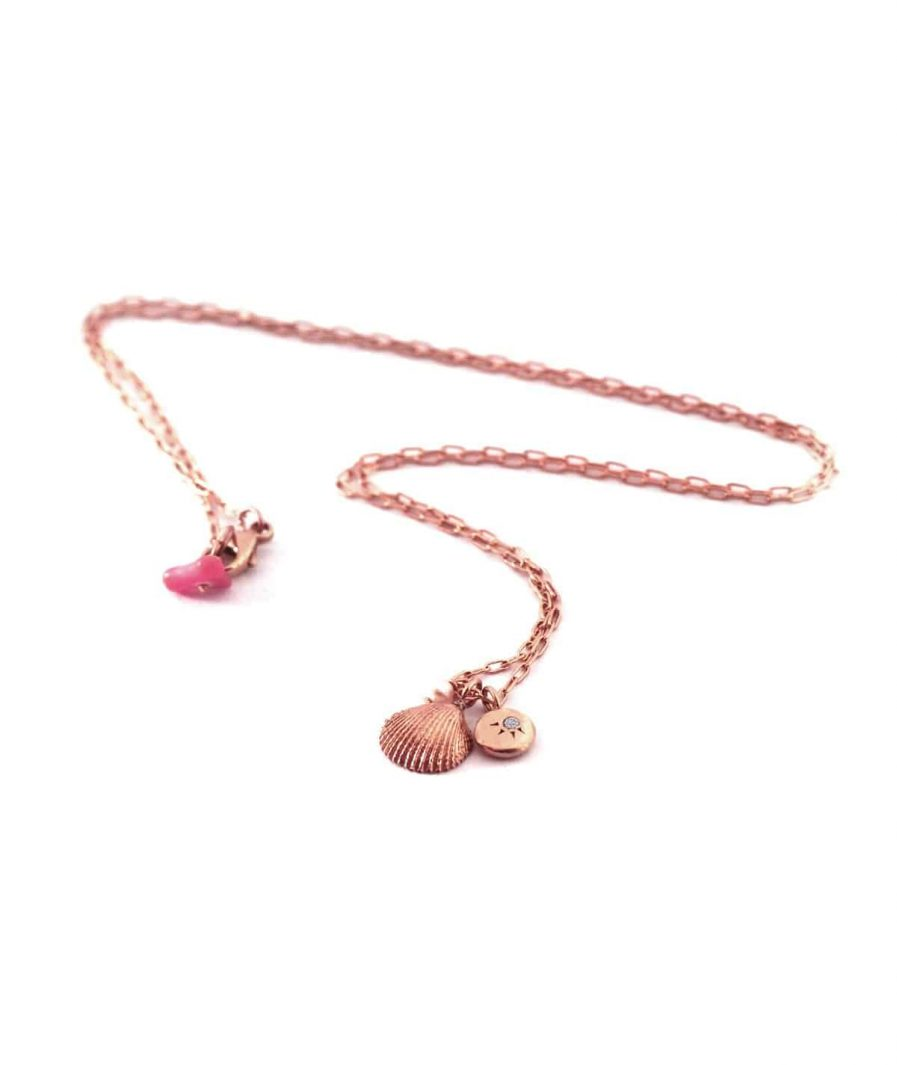 rose gold seashell pendant with diamond and pearl