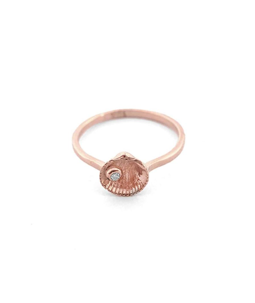 rose gold gem shell stud ring