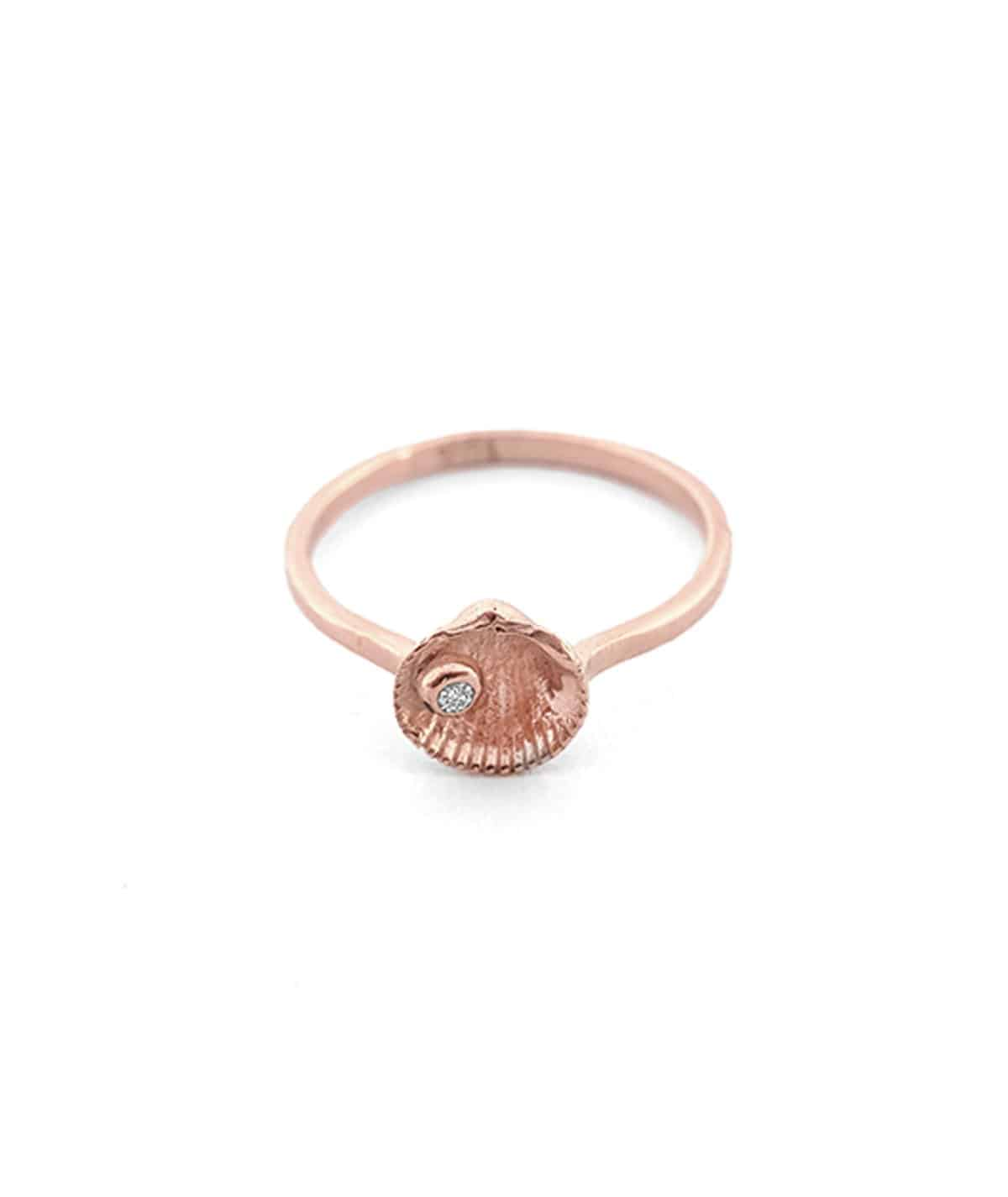 rose gold gem seashell stud ring
