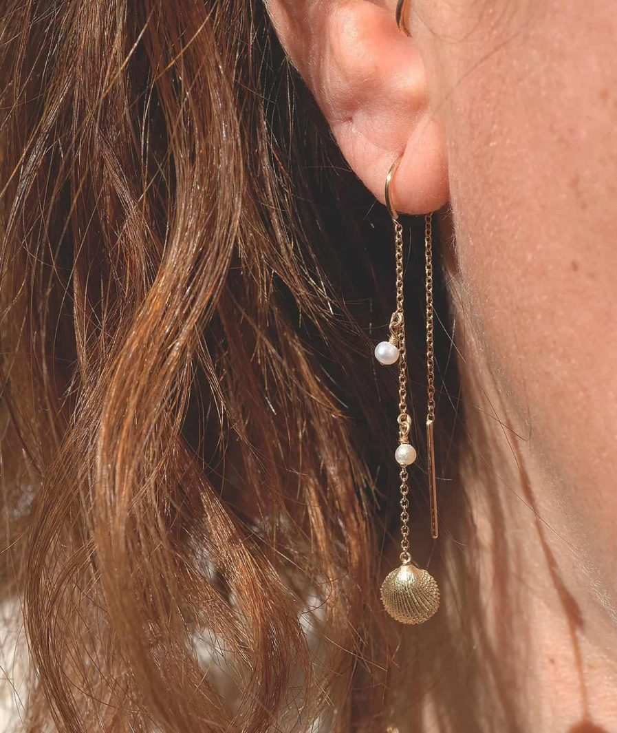 threader seashell earrings