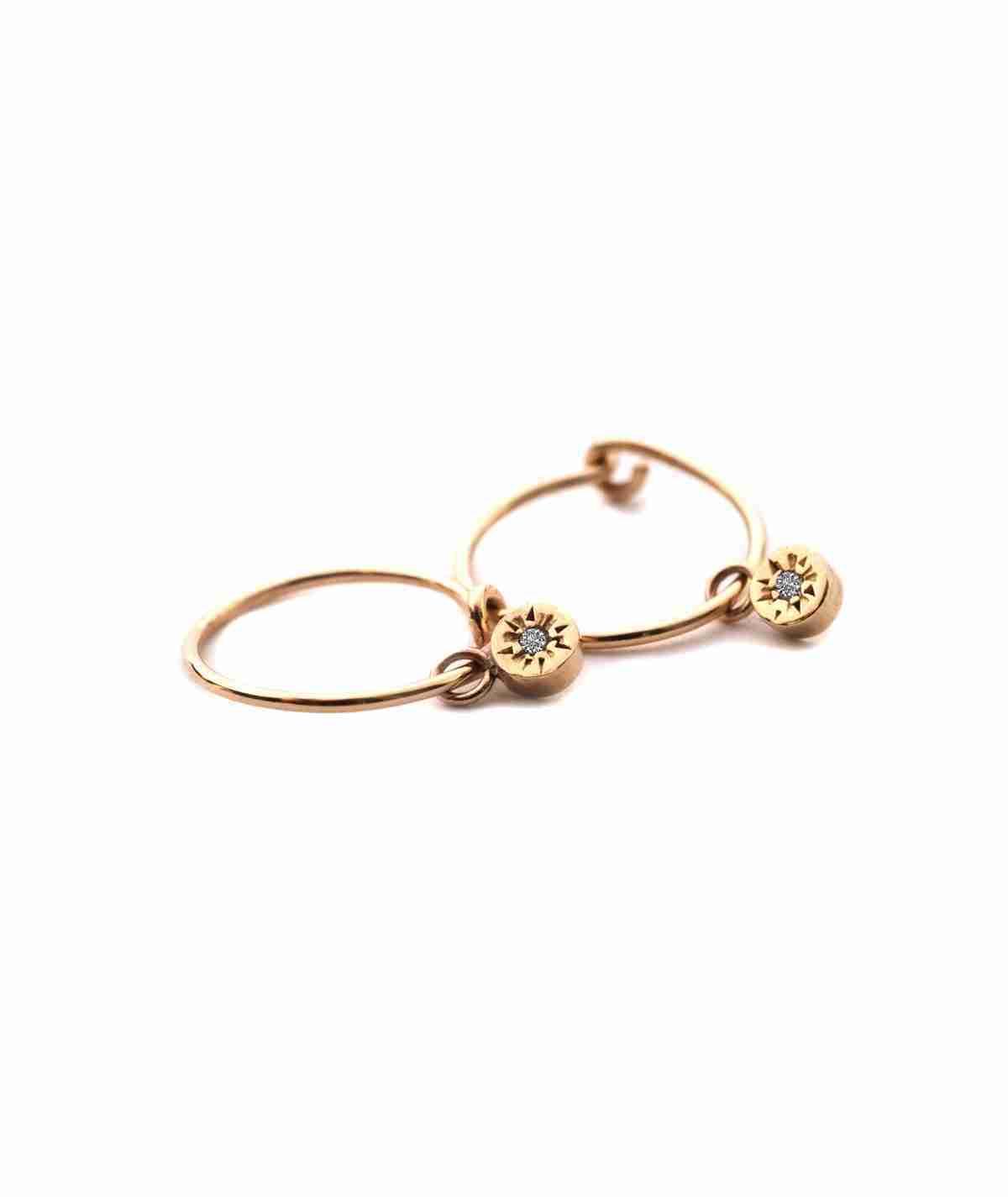 yellow gold charm mini hoops