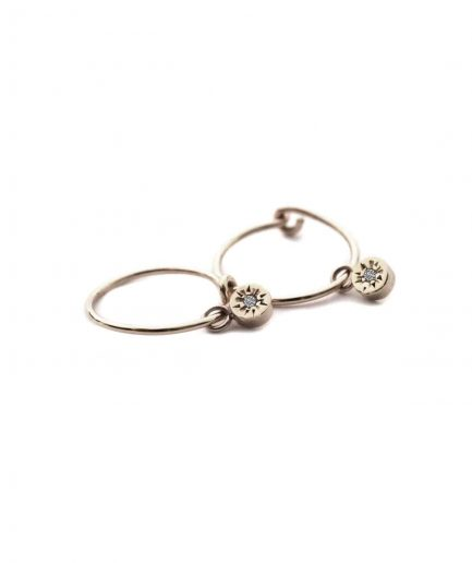 white gold diamond mini hoops