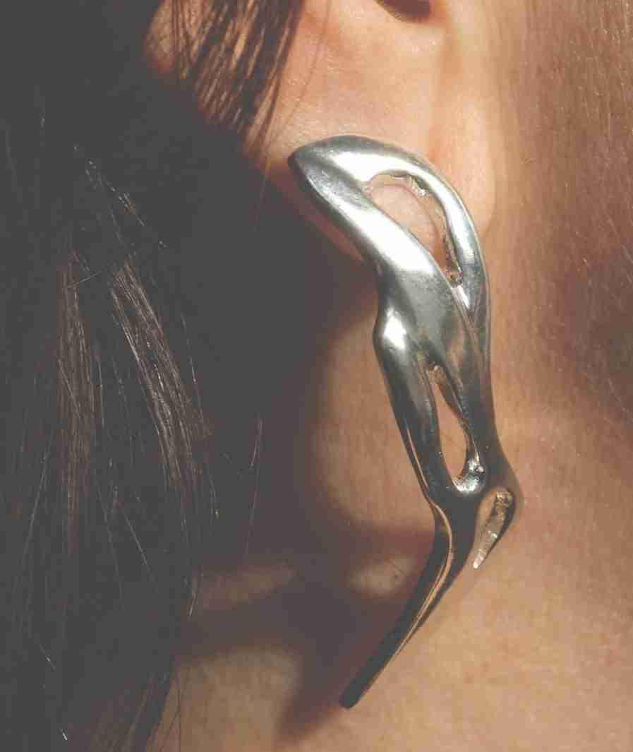 Silver statement organic earrings