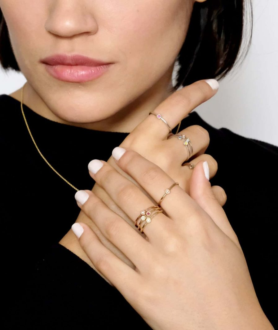 gold stacking rings wit birth stones