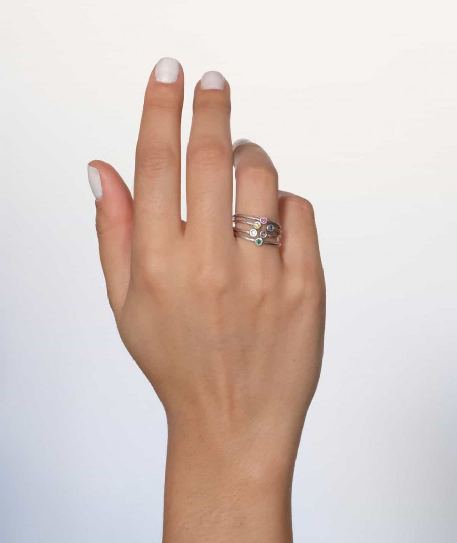 silver stacking rings with birth stones