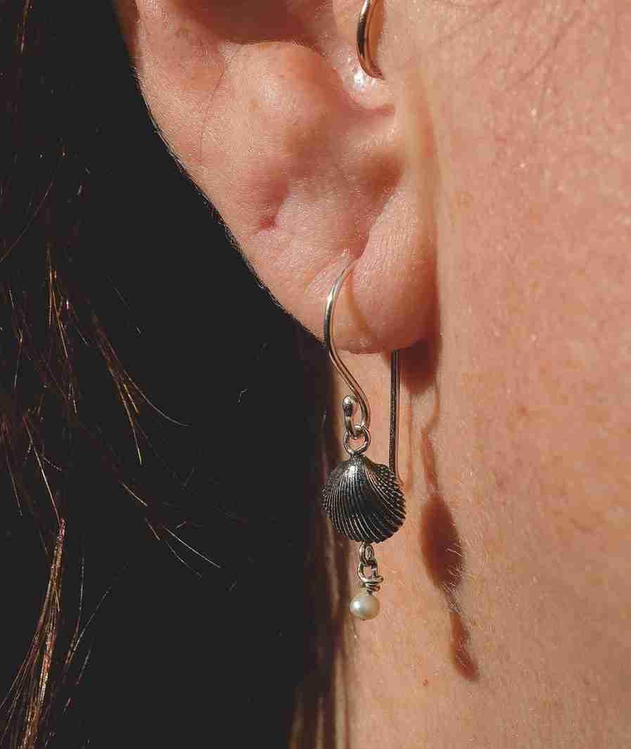 Silver seashell and pearl drop earrings