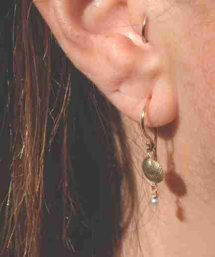 gold seashell and pearl drop earrings