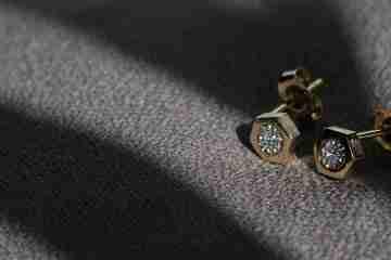diamond hexagon stud earrings