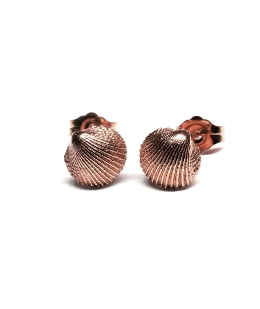 rose gold seashell stud earrings