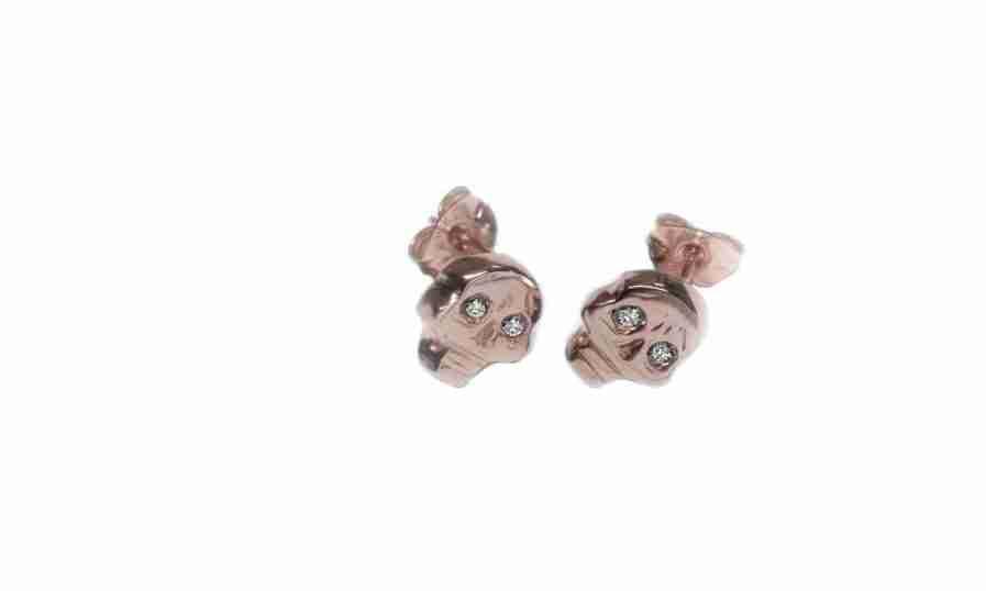 rose gold diamond skull stud earrings