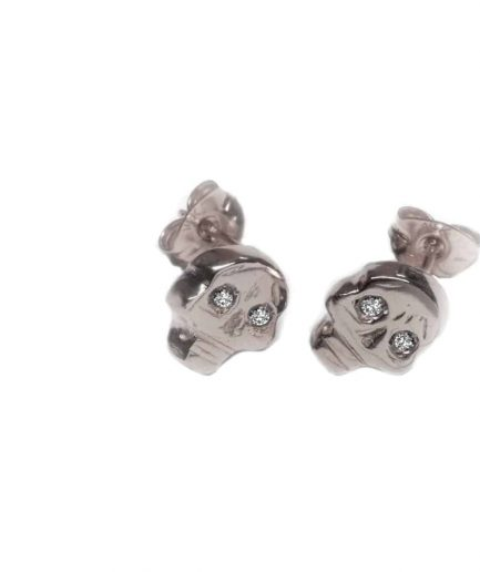 white gold skull stud earrings