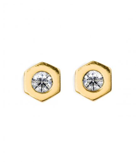 Hexagon shape diamond stud earrings