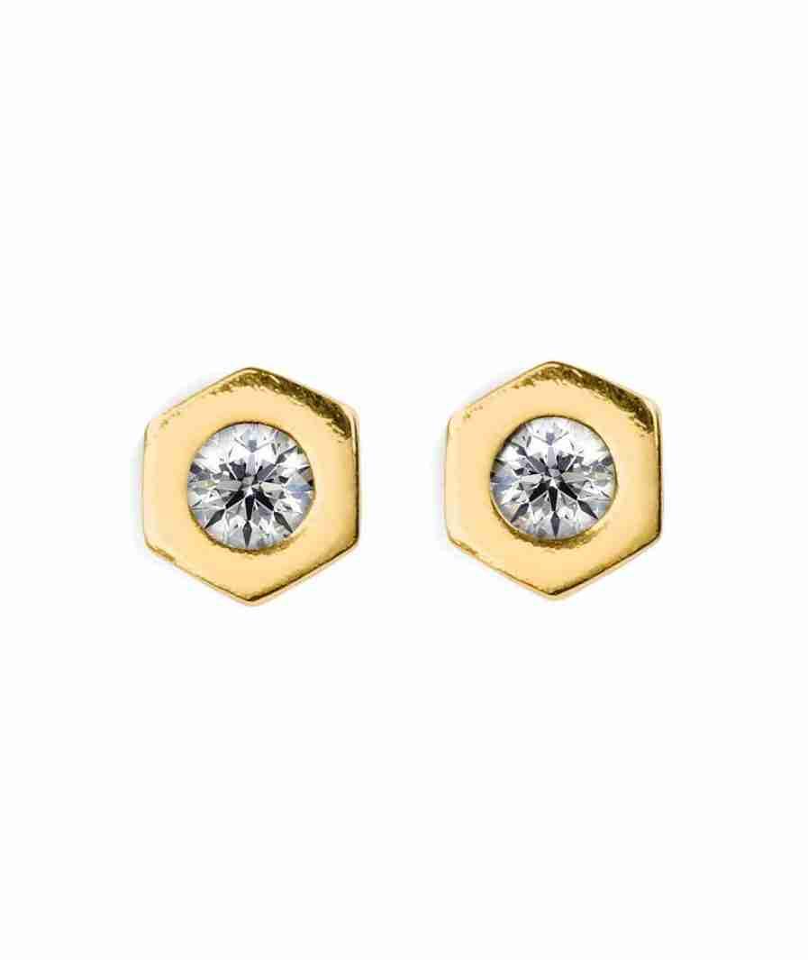 Hexagon shape diamond stud earrings