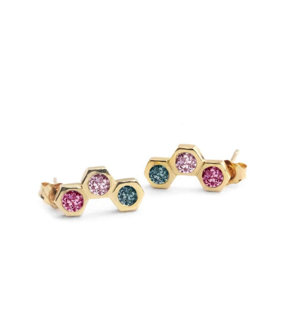three stone stud earrings