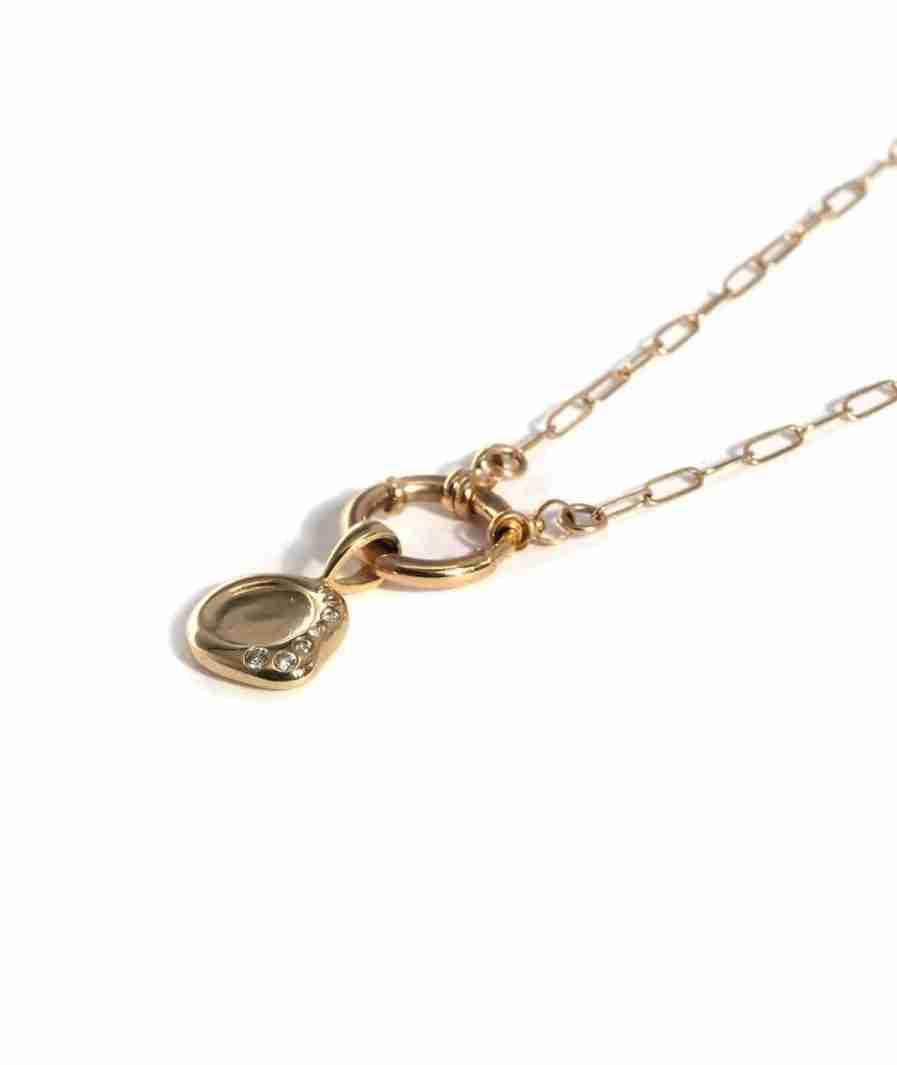 diamond mini wax seal necklace